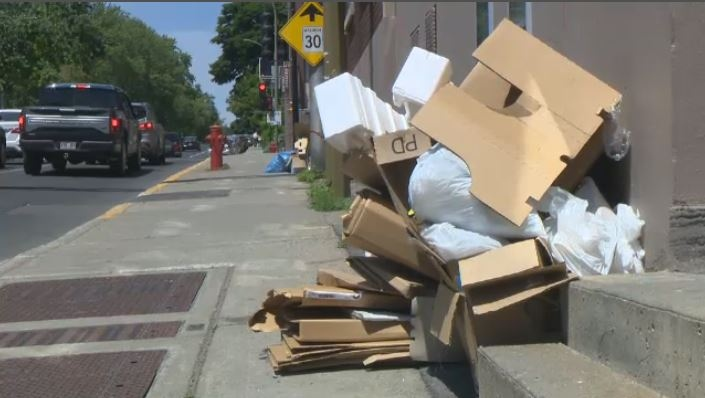 Bags, boxes and more: almost every curb in the borough of CDN/NDG touts a pile of recycling waiting to be picked up. (CTV Montreal)