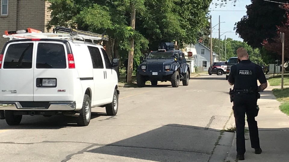 Waterloo Regional Police respond to a weapons call on Duke Street, Cambridge. (July 12, 2018)