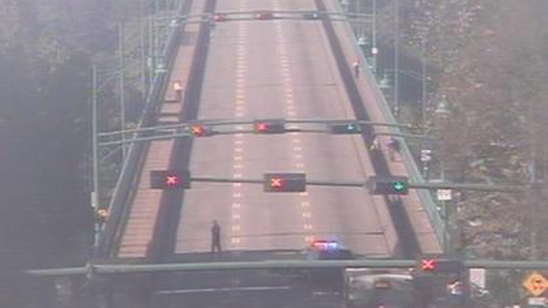 An online traffic camera trained showed empty lanes of the Lions Gate Bridge during a closure on Friday, July 13.