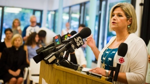 Ontario NDP Leader Andrea Horwath speaks to press alongside advocates against the repeal of Ontario's updated health and physical education curriculum at a news conference held in Toronto on Friday, July 13, 2018. (Christopher Katsarov/ The Canadian Press)