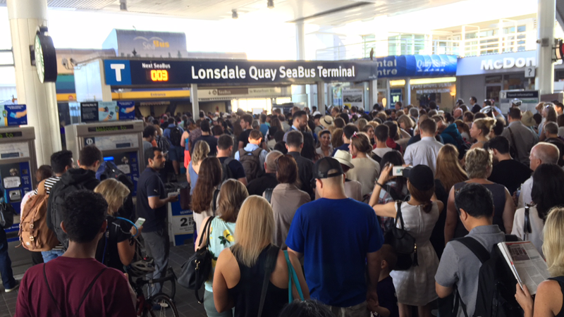 Commuters flooded the Lonsdale Quay SeaBus terminal, hoping to cross the Burrard Inlet by ferry instead of by car.