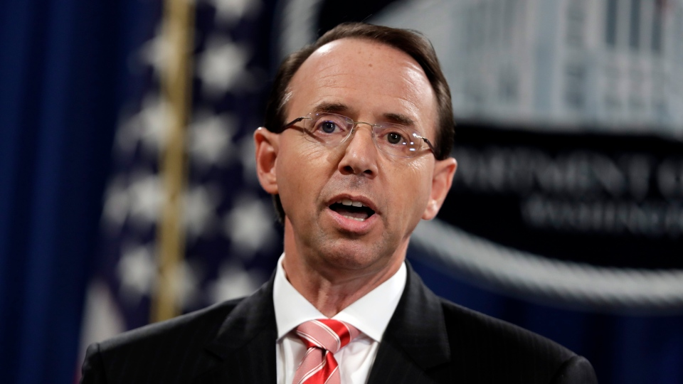 U.S. Deputy Attorney General Rod Rosenstein speaks during a news conference at the Department of Justice, Friday, July 13, 2018, in Washington. (Evan Vucci/ AP Photo)