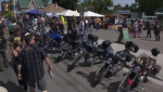 A row of motorcycles in Port Dover. (July 12, 2018)
