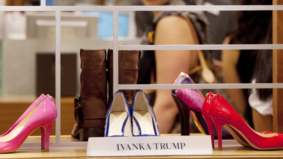 In this Aug. 23, 2012, photo, shoes from the Ivanka Trump collection are displayed at a Lord & Taylor department store in New York. (AP Photo/Mark Lennihan)