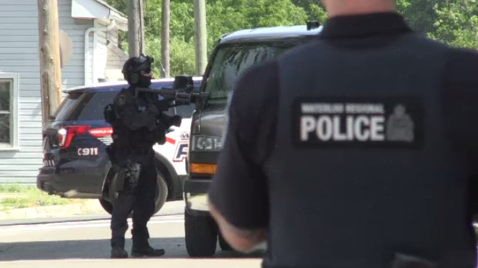 Police respond to a weapons call on Duke Street in Cambridge. (July 13, 2018.)
