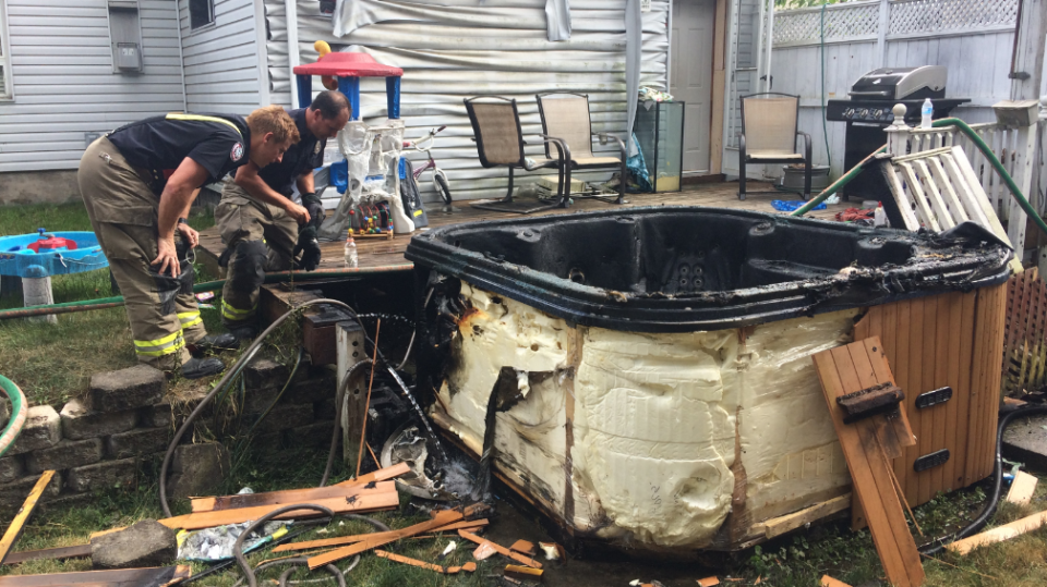 Fire destroyed a hot tub on Crombie St. (July 12, 2018)