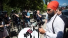 NDP Leader Jagmeet Singh speaks about the upcoming elimination of Greyhound bus service, during a news conference in Vancouver, on Friday July 13, 2018. THE CANADIAN PRESS/Darryl Dyck