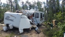 The Bjarnason family camper was destroyed after a tree landed on it following a storm in Emma Lake. (Courtesy: Terri Bjarnason)