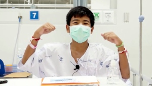 This image made from a video taken on July 13, 2018 and released by Chiang Rai Prachanukroh Hospital, shows Ekarat Wongsookchan, one of the 12 boys rescued from the flooded cave, in their hospital room at Chiang Rai Prachanukroh Hospital in Chiang Rai province, northern Thailand. (Chiang Rai Prachanukroh Hospital via AP)