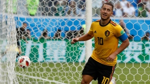 Belgium's Eden Hazard runs in celebration after scoring his side's second goal during the third place match between England and Belgium at the 2018 soccer World Cup in the St. Petersburg Stadium in St. Petersburg, Russia, Saturday, July 14, 2018. (Petr David Josek/ AP Photo)