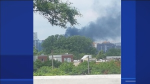 Black smoke from the downtown fire as seen from Nuns' Island Saturday afternoon. (Photo submitted by Phil Gould)