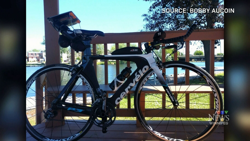 Bobby Aucoin's stolen $3,500 Cervelo bicycle is seen in this undated image. (CTV Winnipeg)