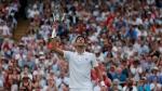 Novak Djokovic of Serbia celebrates defeating Rafael Nadal of Spain in the men's singles semifinal match at the Wimbledon Tennis Championships, in London, Saturday July 14, 2018. (Andrew Couldridge, Pool via AP)