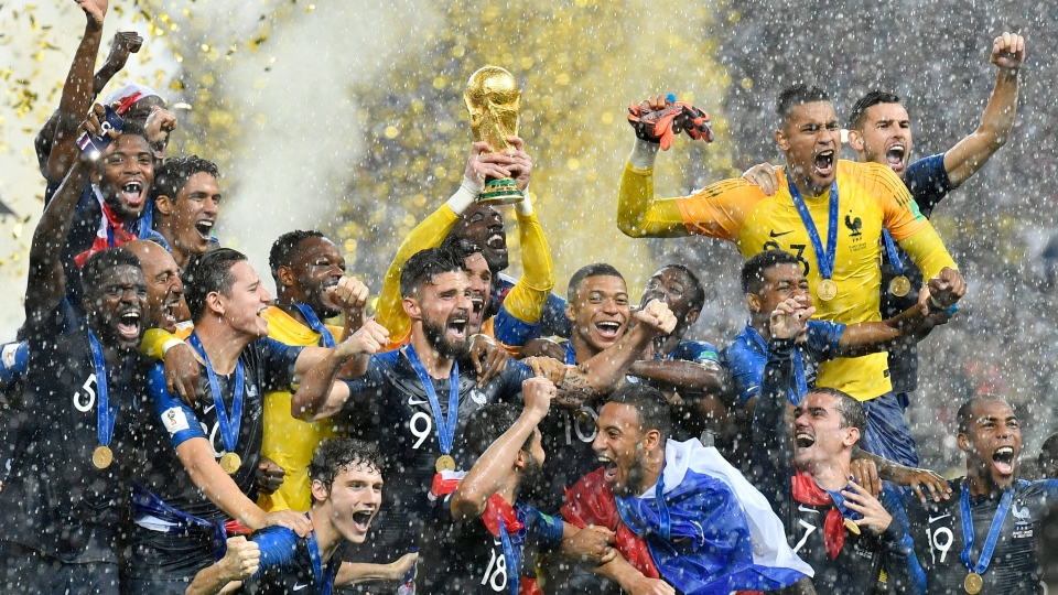 France goalkeeper Hugo Lloris lifts the trophy after France won 4-2 during the final match between France and Croatia at the 2018 soccer World Cup in the Luzhniki Stadium in Moscow, Russia, Sunday, July 15, 2018. (AP Photo/Martin Meissner)