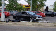 Vehicle after collision with hydro pole