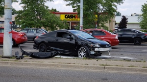 The driver of a vehicle that hit a hydro pole was taken to hospital with unknown injuries. (Scott Clarke / CTV Kitchener)