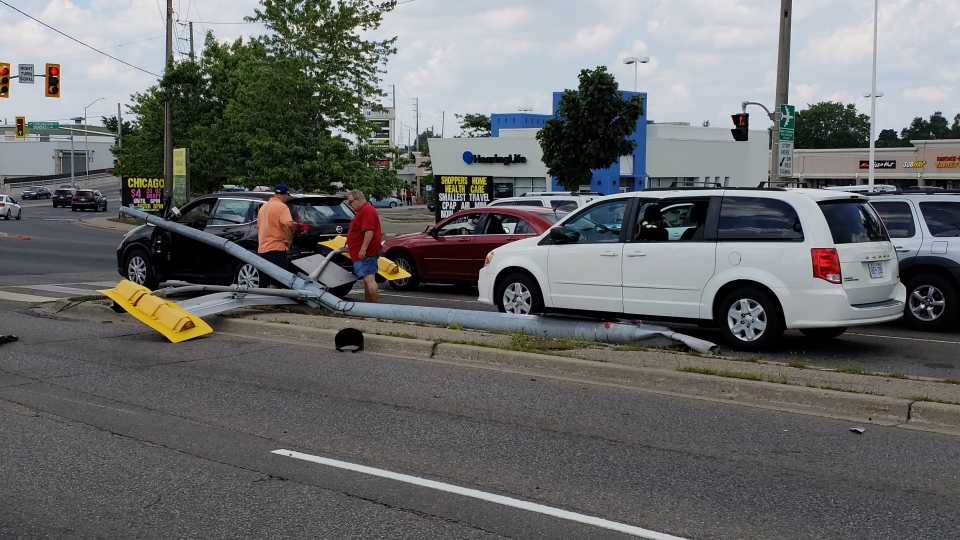 Three other vehicles were damaged as a result of the traffic light coming down. (Scott Clarke / CTV Kitchener)