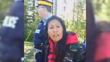 Kanahus Manuel videotaped her arrest in protest of Kinder Morgan on Facebook. (Facebook)
