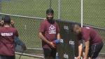 A Kabaddi player at the U-21 Kabaddi World Cup in Surrey on Sunday (CTV)
