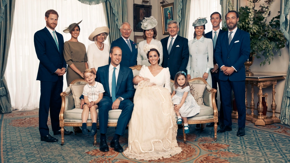 This Monday, July 9, 2018, photo provided by the Duke and Duchess of Cambridge shows the official photograph to mark the christening of Prince Louis at Clarence House, following Prince Louis' baptism, in London. (Matt Holyoak/Camera Press/Duke and Duchess of Cambridge via AP)