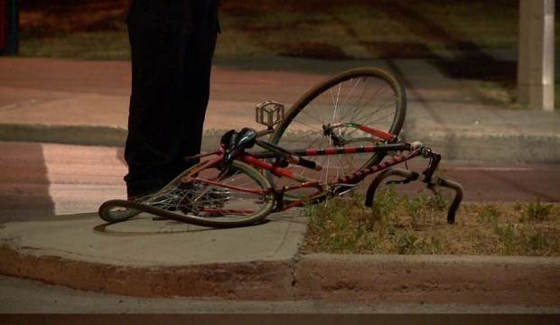 Police believe the cyclist, 31, ran a red light on Molson St. before he was struck by an SUV around 12:30 a.m. (Cosmo Santamaria/CTV Montreal)