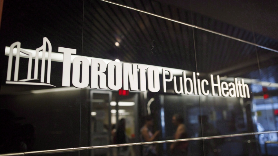 A Toronto Public Health sign is seen at Dundas and Victoria St. in Toronto on Monday, August 21, 2017. THE CANADIAN PRESS/Cole Burston
