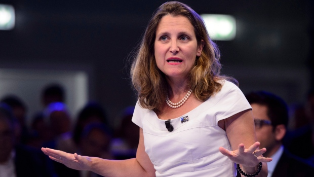 Minister of Foreign Affairs Chrystia Freeland takes part in a NATO Engages Armchair Discussion at the NATO Summit in Brussels, Belgium on Wednesday, July 11, 2018. The United States says it's firing back at the Canadian government's recent retaliatory tariffs on American imports by launching a formal challenge with the World Trade Organization. (THE CANADIAN PRESS / Sean Kilpatrick)