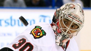In this Nov. 4, 2011 file photo Chicago Blackhawks goalie Ray Emery keeps his eyes on a shot by the Tampa Bay Lightning during the second period of an NHL hockey game in Tampa, Fla. (AP Photo/Chris O'Meara, file)