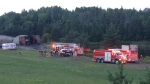 A fire destroyed a large shed in New Tecumseth, ON on July 15, 2018 (CTV Barrie Chris Garry)