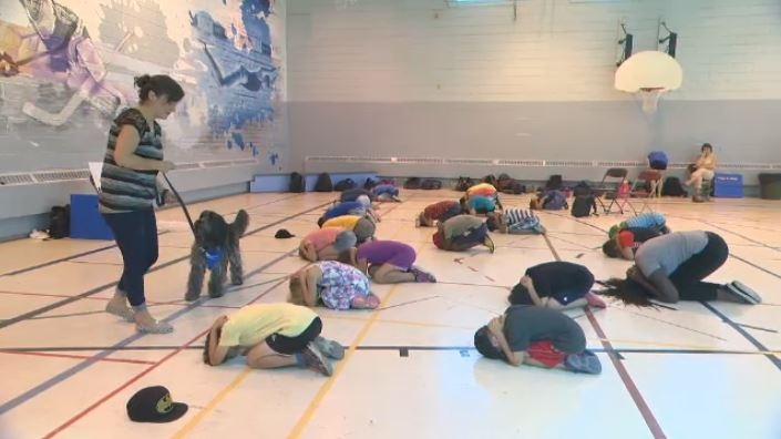 About 20 children gathered in the Sud-Ouest borough Monday morning to hear tips about canine temperament and how to avoid being bitten. (CTV Montreal)