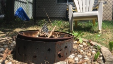 A backyard fire pit in Kitchener