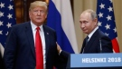 U.S. President Donald Trump, left, and Russian President Vladimir Putin leave after a press conference after their meeting at the Presidential Palace in Helsinki, Finland, Monday, July 16, 2018. (AP / Alexander Zemlianichenko)