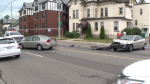 Traffic was slowed after a two-vehicle collision blocked three lanes on Weber Street in Kitchener.