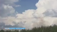 Video of a water bomber fighting a brush fire off MR80