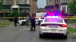 The scene of a deadly shooting in Brampton is seen.