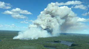 Supplied aerial photograph of the fire causing smoke to drift into Kenora area.