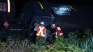Twenty of the cars in the train's convoy - four of them carrying propane - came off the tracks in Saint-Polycarpe just before 7 p.m., officials said. (Cosmo Santamaria/CTV Montreal)