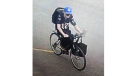 A man rides the stolen bike on Monday, July 16, 2018. (Chatham-Kent Police)