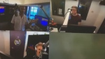 Dave Wheeler, top left, during a radio show.