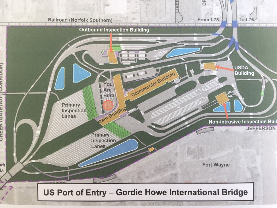 Gordie Howe Bridge Michigan map