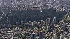 Burnaby's Central Park is seen in this file image from CTV's Chopper 9.