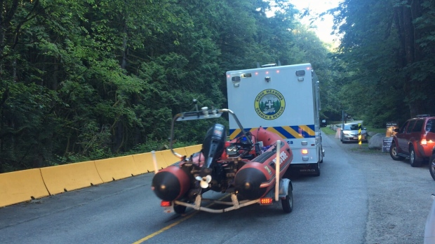 Crews searched the waters of Golden Ears Provincial Park for a missing 21-year-old hiker from Toronto. (CTV)