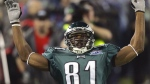 In this Feb. 6, 2005 photo, Philadelphia Eagles wide receiver Terrell Owens (81) reacts after a 30-yard reception against the New England Patriots during the first quarter of Super Bowl XXXIX at Alltel Stadium in Jacksonville, Fla. (AP Photo/Amy Sancetta)
