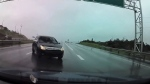 Narrow miss with car on slick N.L. highway