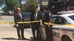 Inspectors on site following a report of an assault on Erie Street in Windsor, Ont., on Tuesday, July 17, 2018. (Bob Bellacicco / CTV Windsor)