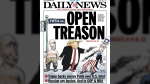 The New York Daily News' Tuesday cover depicts Trump and a shirtless Putin holding hands on Fifth Avenue. In his other hand, Trump points a gun at Uncle Sam and shoots him in the head. (Source: New York Daily News)