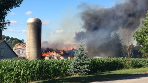 A barn was destroyed by fire on Roseville Road on Tuesday evening.