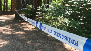 Part of Burnaby's Central Park is cordoned off with police tape days after an assault that put a senior in hospital.