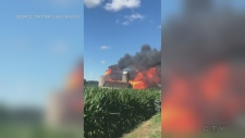Flames engulf a barn on Roseville Road