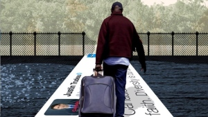 The Conservative party pulled this attack ad from its Twitter feed Tuesday that depicted a black man carrying a suitcase walking over a tweet from Prime Minister Justin Trudeau. (THE CANADIAN PRESS/HO-Twitter, @CPC_HQ via @journo_dale)